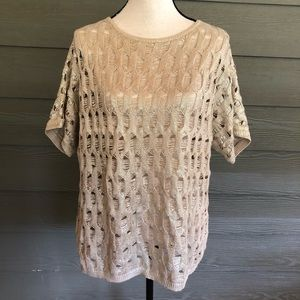 Chico's Top gold Short Sleeve Sweater  Blouse